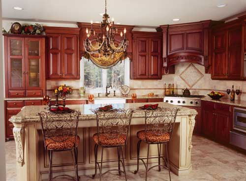 Classy-interior-design-French-Country-kitchen-with-magnificient-chandelier-wooden-kitchen-cupboards-granite-broad-boards-and-amazing-bar-stools